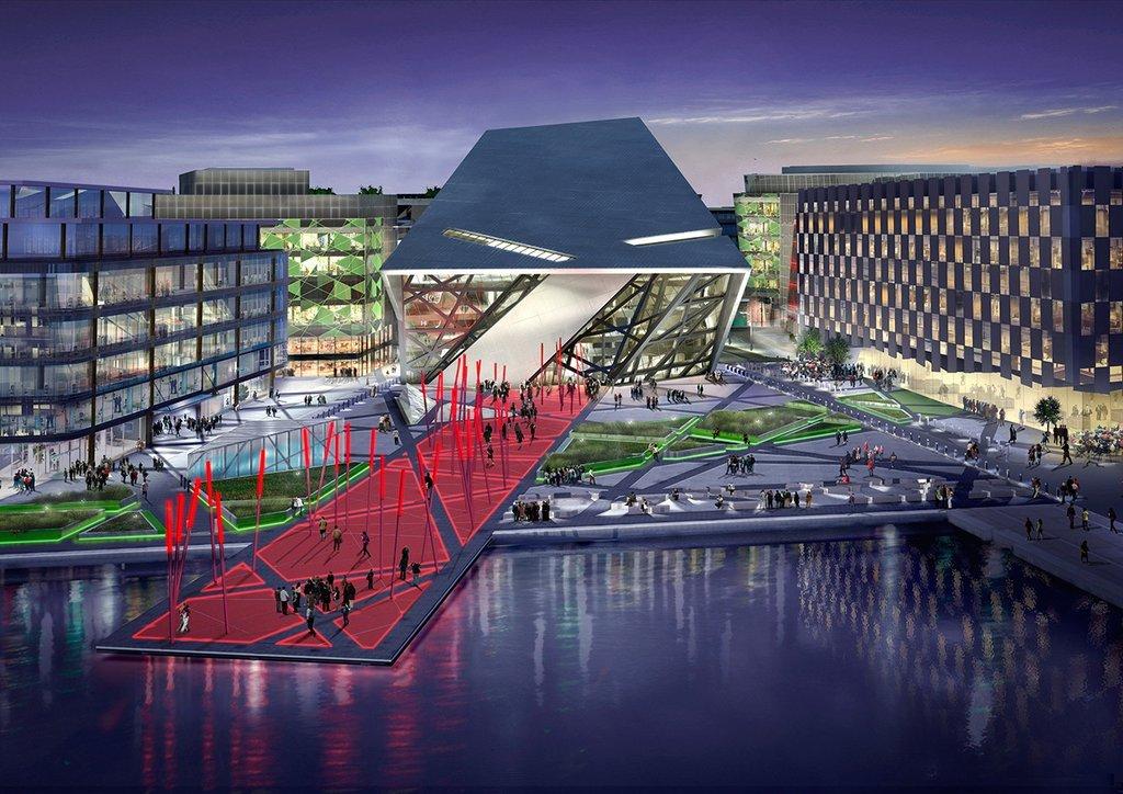 Quảng trường của tòa nhà được xem là biểu tượng đô thị mới tại bờ sông của Grand Canal Harbor