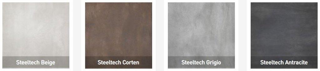 Bộ sưu tập Steeltech thuộc dòng gạch vân kim loại được ứng dụng sáng tạo với bốn sắc thái vân kim loại