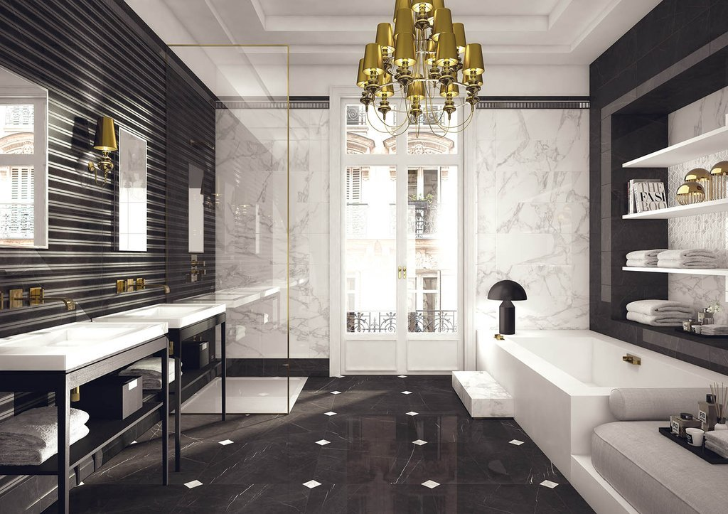 Gạch lát nền cẩm thạch đen tạo ra một không gian đơn giản mà tinh tế