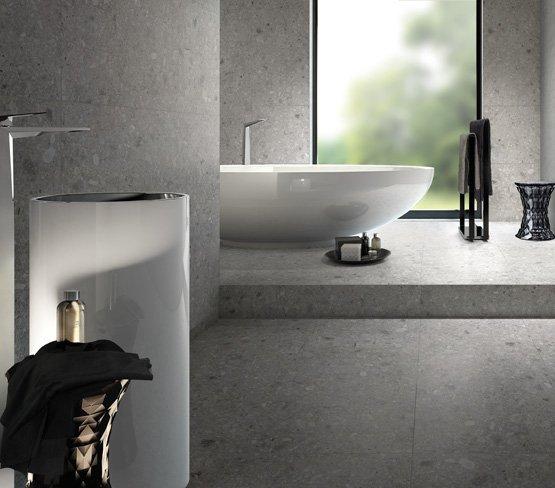 Phòng tắm thanh lịch với gam màu xám khói
