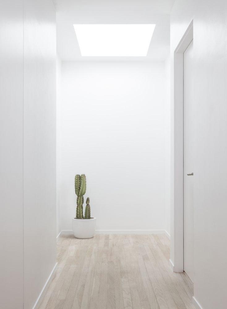 Thiết kế hành lang với màu trắng và vân gỗ