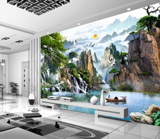 Tranh gạch ốp tường phòng khách